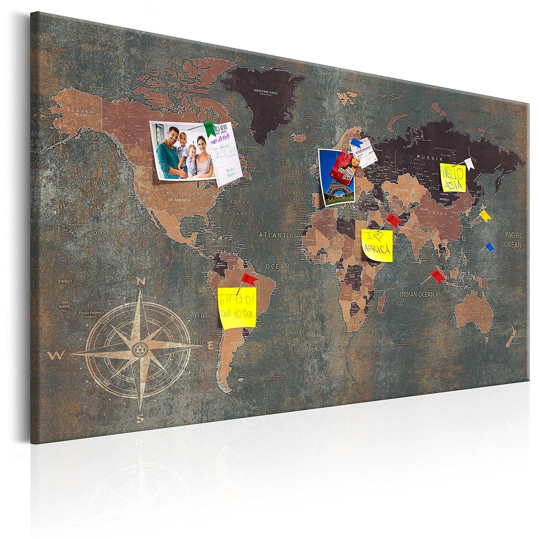 murando - Mapamundi con Tablero para Clavar chinchetas 90x60 cm - Cuadro en Lienzo - Panel de Fibra - Mapa del Mundo Continente - k-A-0057-v-b: Amazon.es: ...