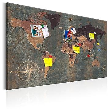 Murando   Weltkarte Pinnwand U0026 Leinwand Bild 120x80 Cm   1 Teilig    Wandbilder Als Korktafel