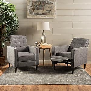 Christopher Knight Home 300972 Marston Mid Century Modern Fabric Recliner (Set of 2) (Grey)