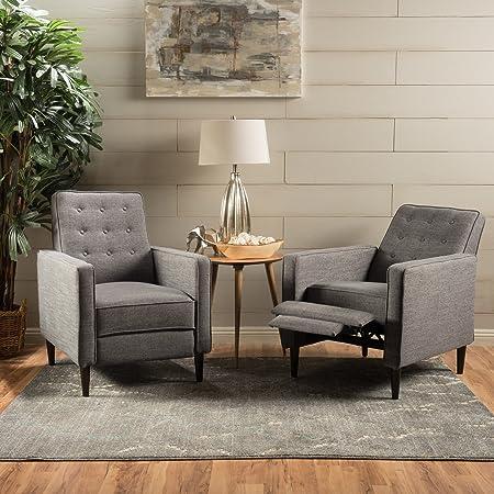 Christopher Knight Home 300972 Marston Mid Century Modern Fabric Recliner Set of 2 Grey ,