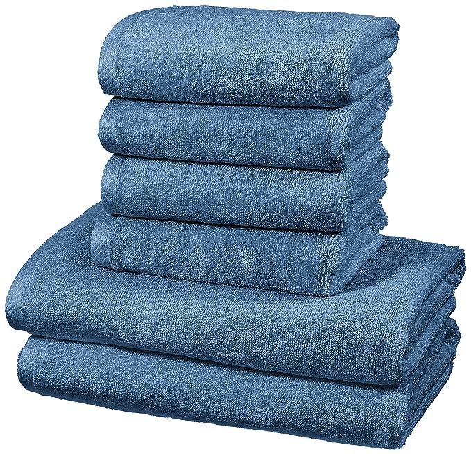 AmazonBasics - Juego de 6 toallas de secado rápido, 2 toallas de baño y 4 toallas de mano - Azulón: Amazon.es: Hogar
