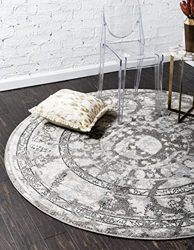 Unique Loom La Jolla Collection Tone-on-Tone Traditional Gray Round Rug 6 0 x 6 0