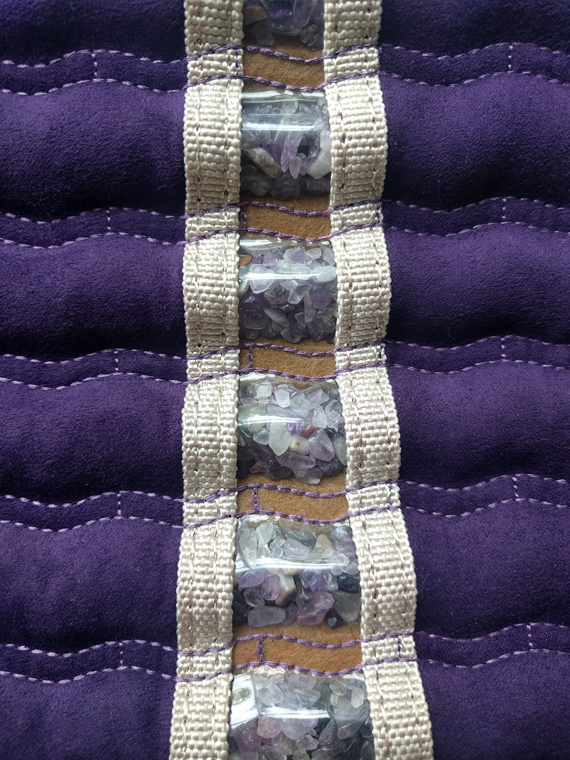 Far Infrared Amethyst Mat Pillow - Emits Negative Ions - Crystal FIR Rays - 100% Natural Amethyst Gemstones - Non Electric - For Headache and Stress Relief - To Sleep Better - GENTLE support - Purple by MediCrystal (Image #4)