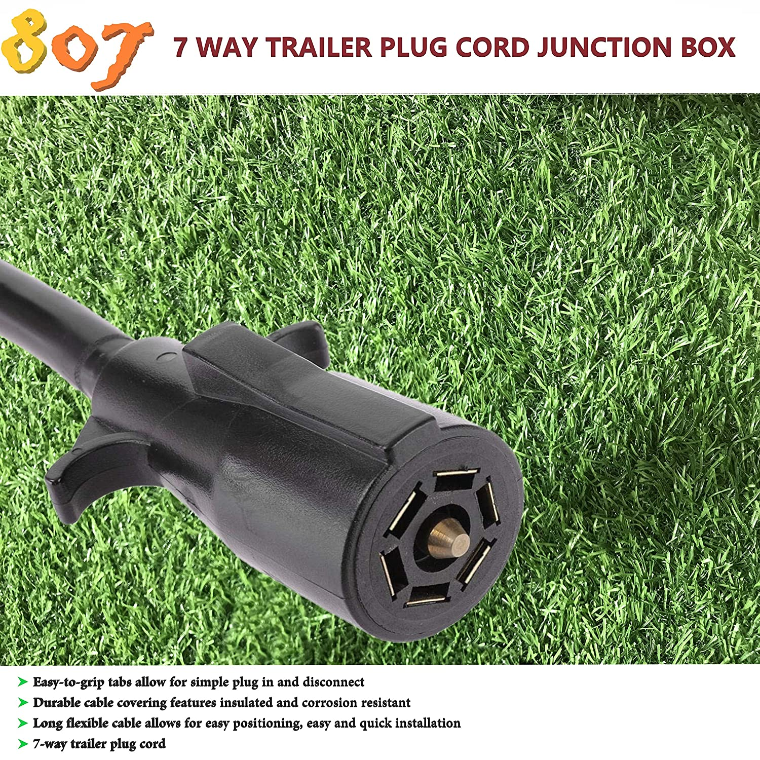 Inline Harness Kit RV Blade Molded Wire Double Prong Connector 7-Way Trailer Truck Camper Plug Cord with Junction Box 8 FT Weatherproof and Corrosion Resistant