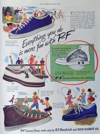P-F Canvas Shoes, 40s Full Page Color Illustration,print art, (B.F. Goodrich
