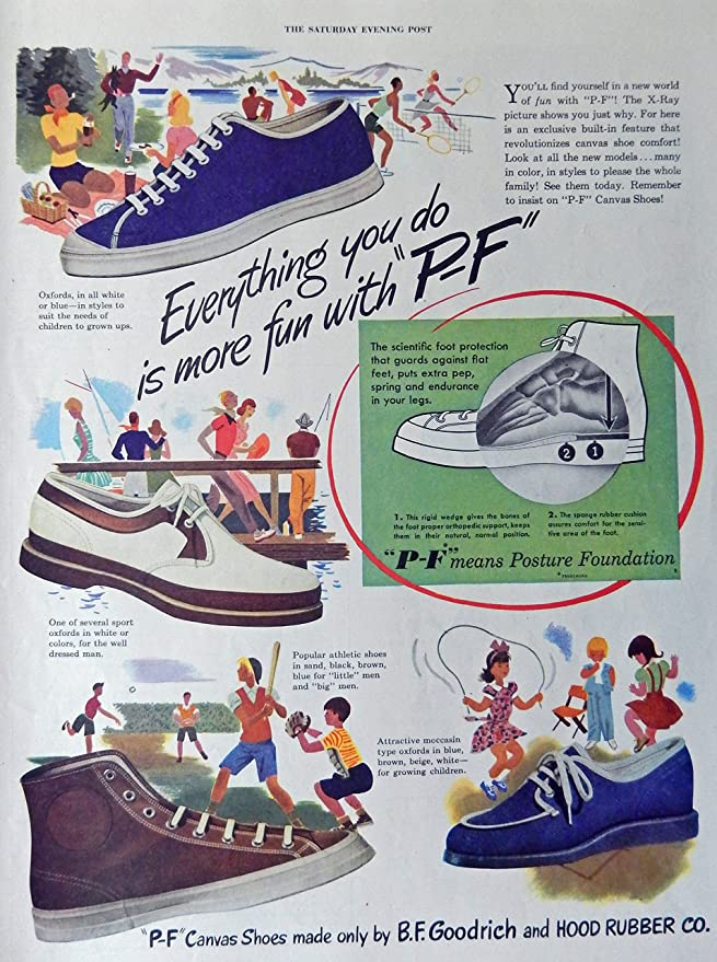 Amazon.com : P-F Canvas Shoes, 40s Full Page Color Illustration, print art, (B.F. Goodrich and Hood Rubber Co.) Original Vintage, Rare 1947 The Saturday ...
