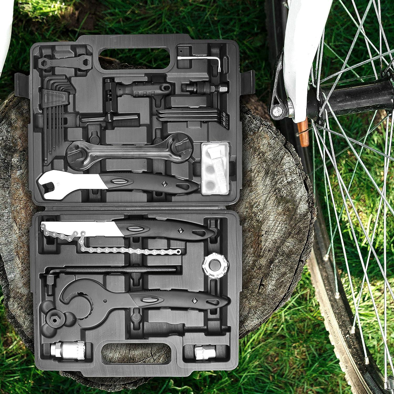 26 piezas ara trabajos de montaje y reparaciones de bicicleta Provelo Malet/ín de herramientas para bicicleta en negro