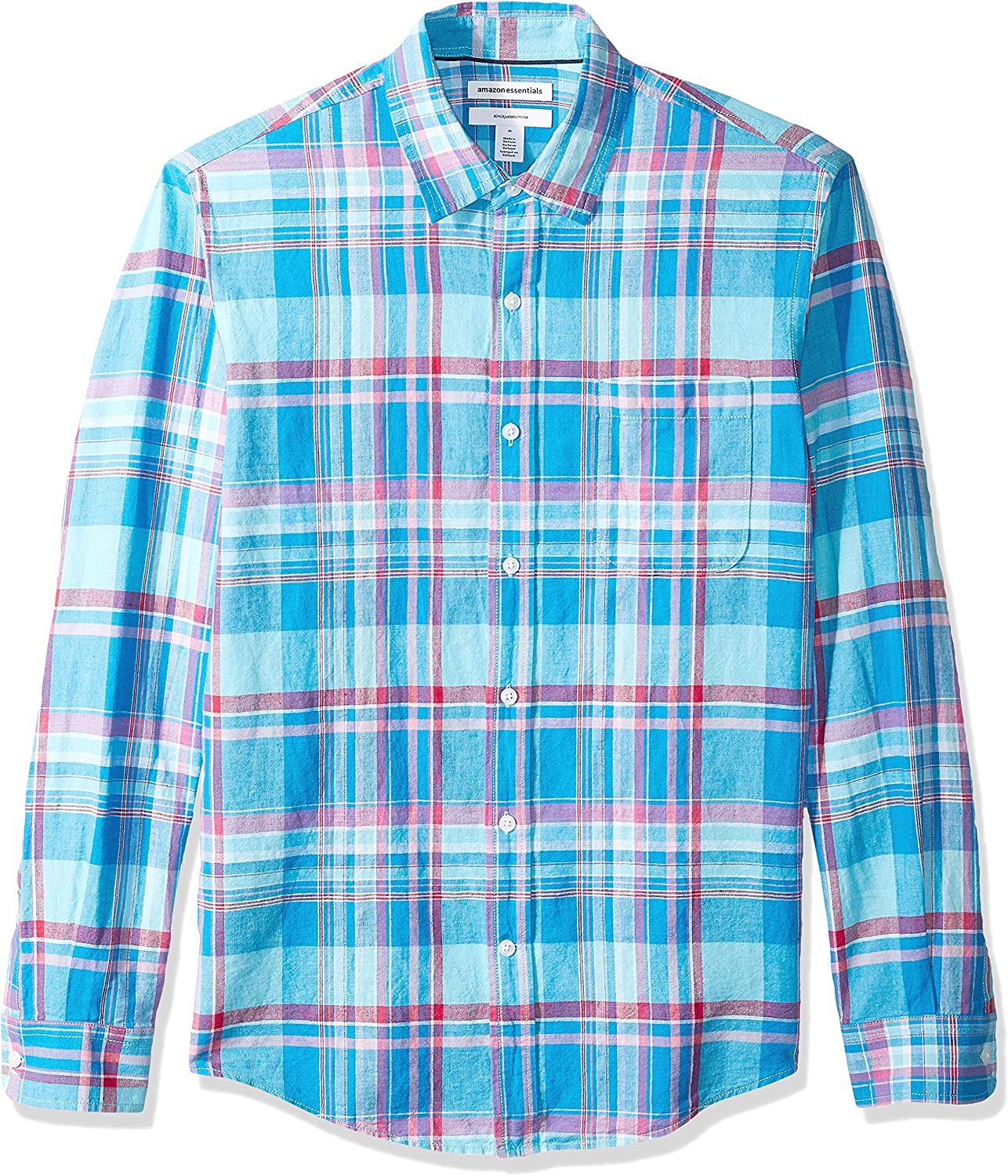 Amazon Essentials Camisa de Manga Larga con Estampado de Algodón Y Lino Button-Down-Shirts Hombre