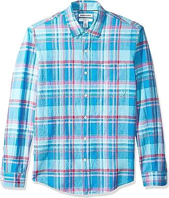 Amazon Essentials Men's Slim-Fit Long-Sleeve Linen Cotton Shirt