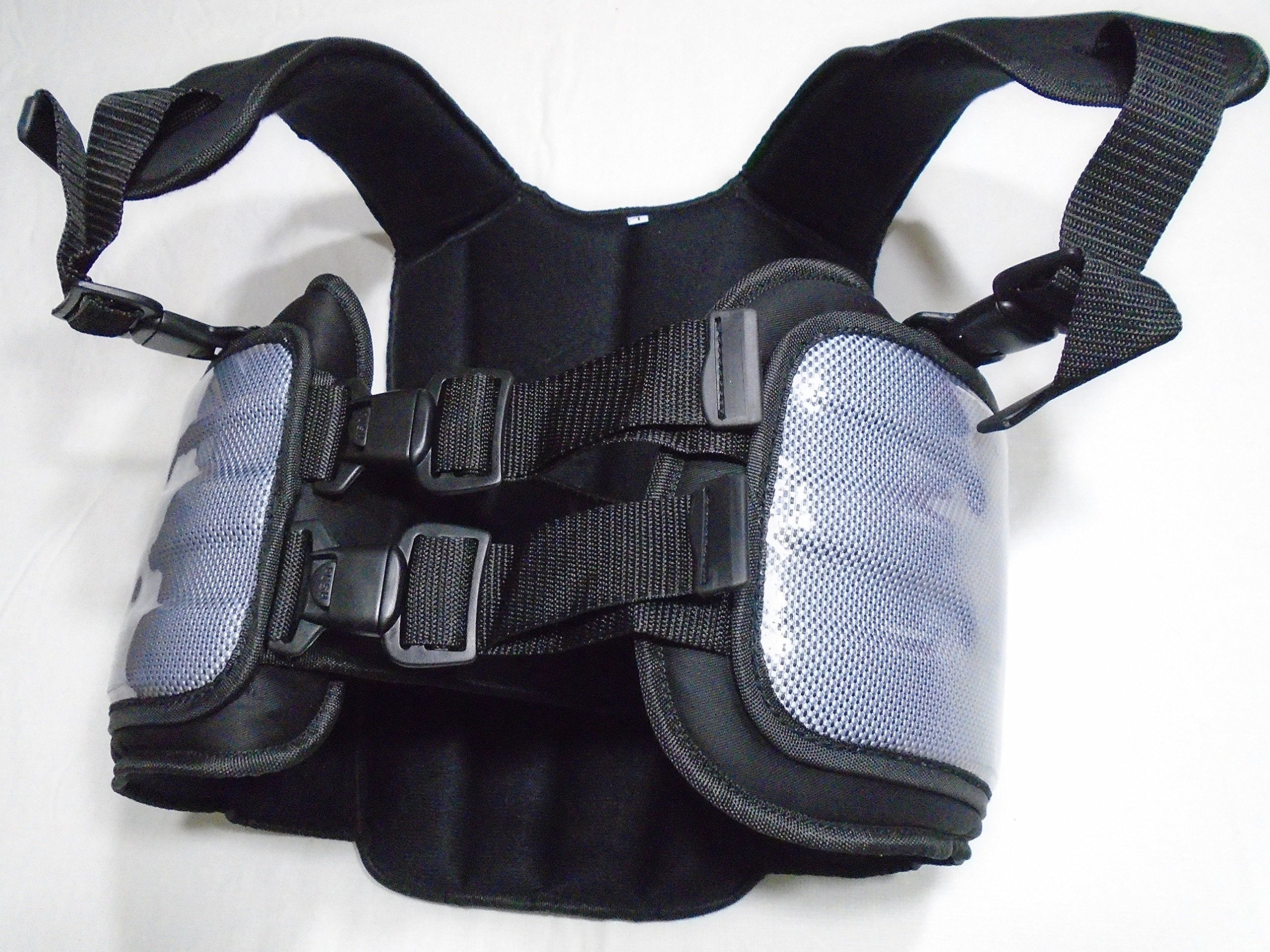 Cuircon Auto Racing Body Protectors, Go Kart Carbon Rib Vest/Riders Safety Jackets/body Armour (Large, Silver/Black)