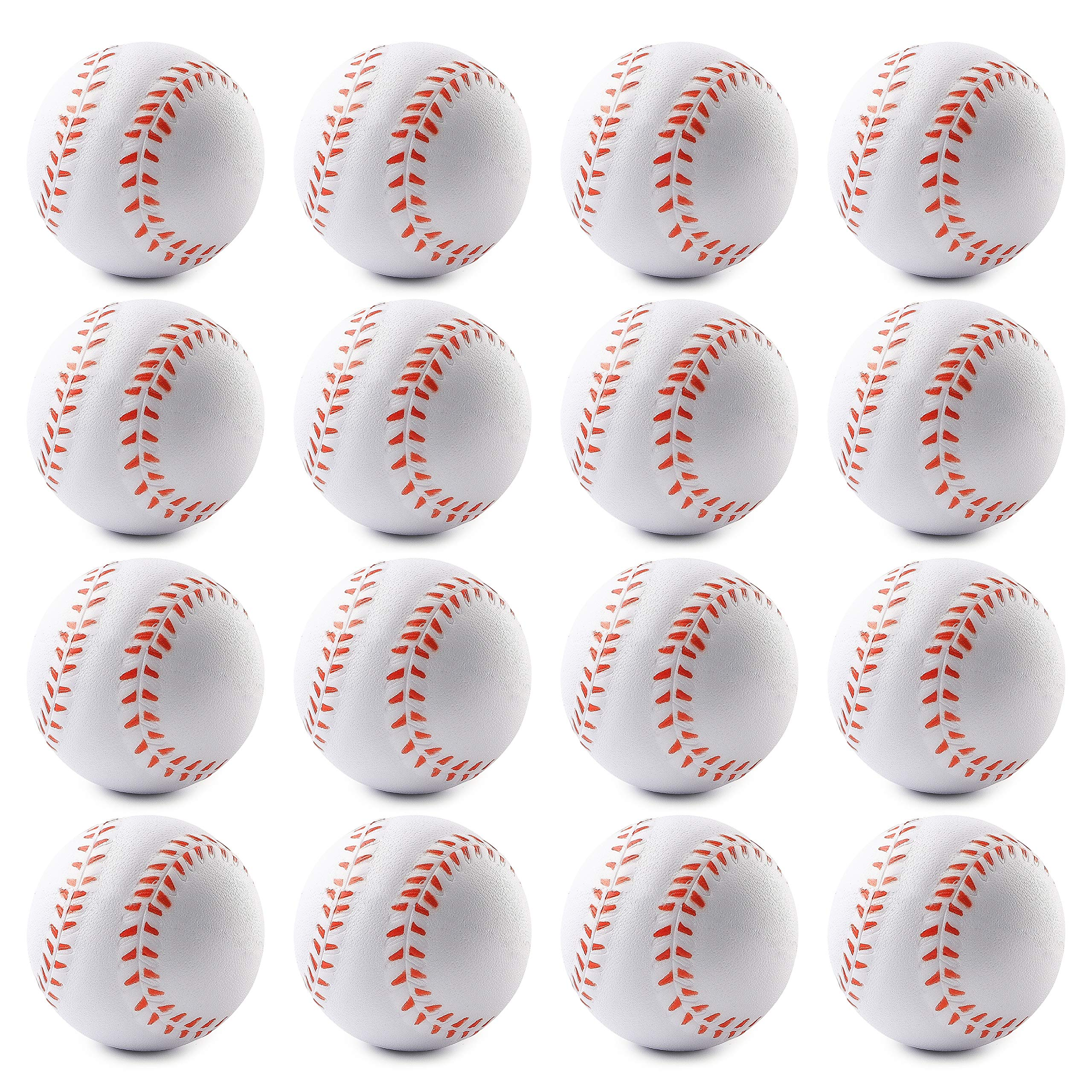 WATINC 16 Pcs 2.5Inch Baseball Squishies Soft Foam Sports Balls for Kids Sports Themed Party Favor Toys, Squeeze Balls for Stress Relief, Ball Games and Prizes, Perfect for Small Hands Stress Balls