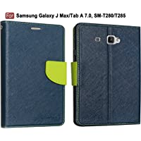 """CEDO Stylish Mercury Magnetic Lock Diary Wallet Style Flip Cover Case for Tablet Samsung Galaxy J Max/Tab A 7.0"""" 7-inch SM-T280/T285 - Blue and Green"""