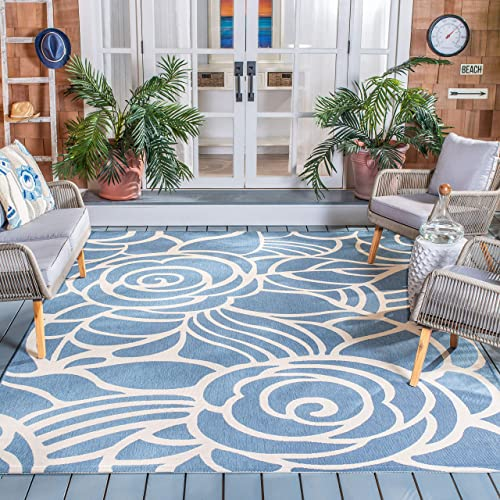 Safavieh Courtyard Collection CY5141C Blue and Beige Indoor Outdoor Area Rug 6 7 x 9 6