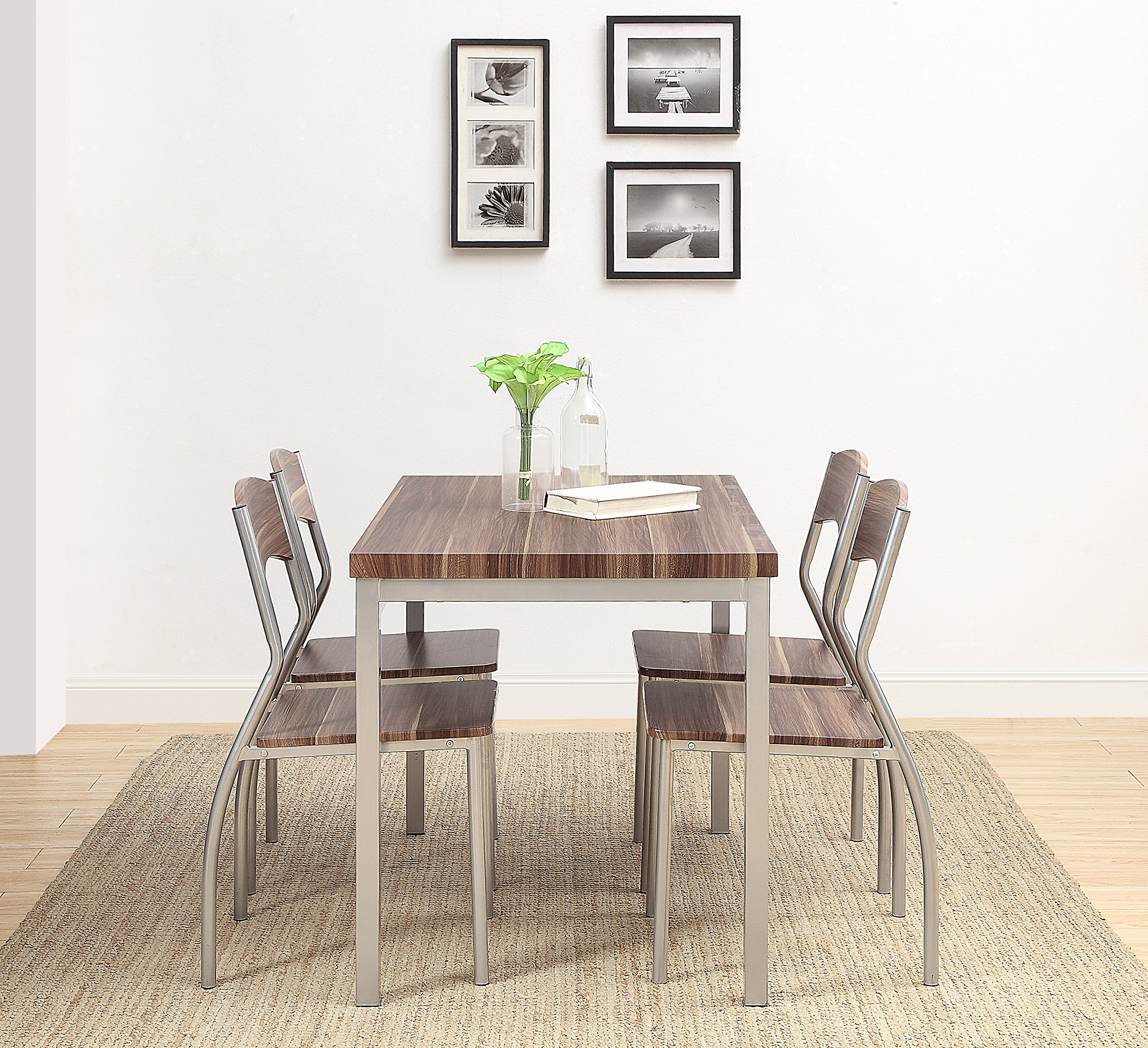Abington Lane 5-Piece Dining Table Set with 4 Chairs - Modern and Sleek Dinette (Cedarwood Finish) by Abington Lane (Image #5)