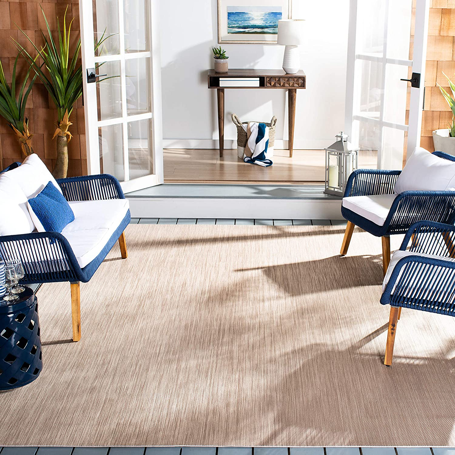 Safavieh Beach House Collection Bhs218b Indoor Outdoor Non Shedding Stain Resistant Patio Backyard Area Rug 8 X 10 Beige Furniture Decor