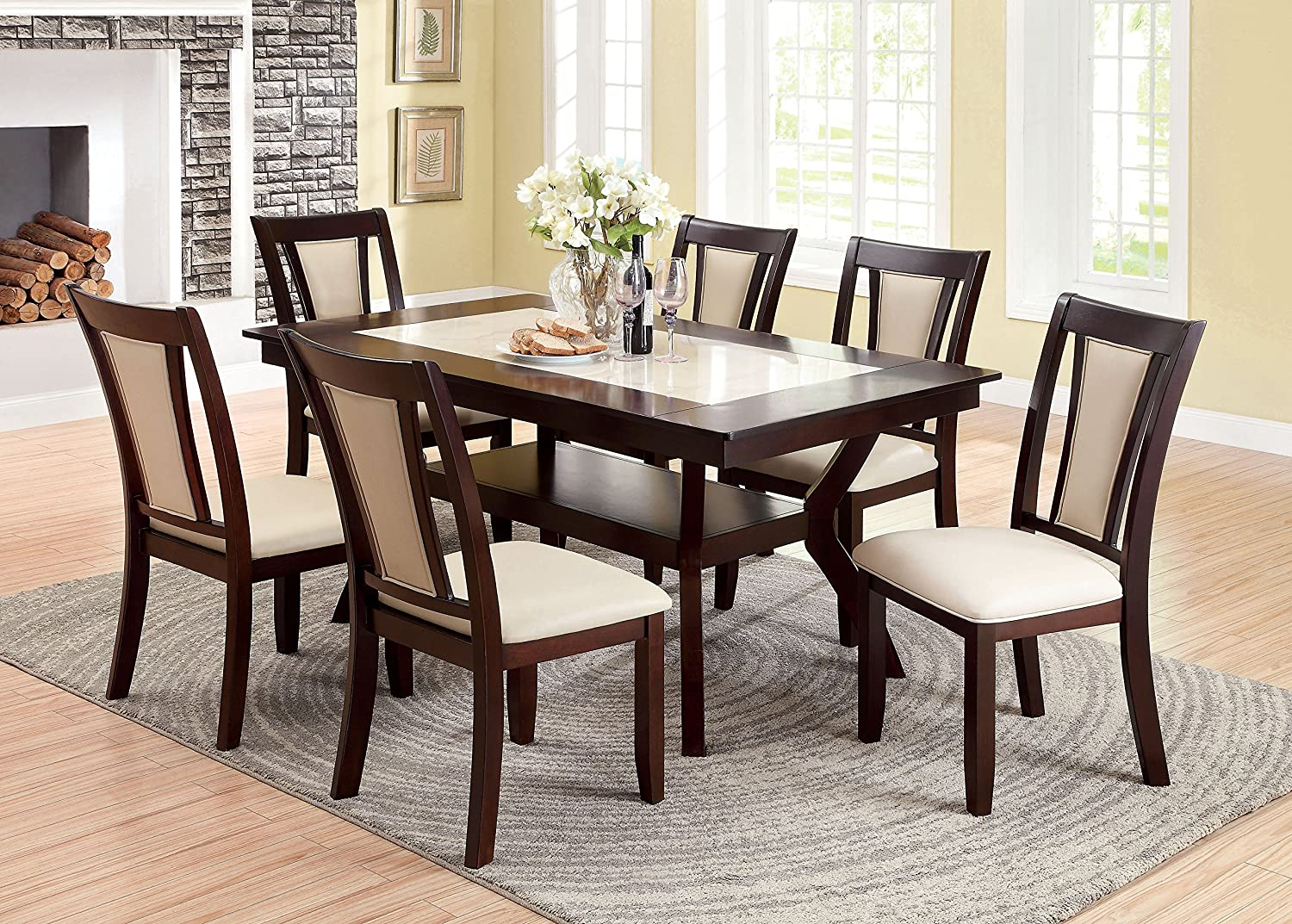 Furniture of America Dalcroze 7-Piece Modern Faux Marble Top Dining Set,  Dark Cherry
