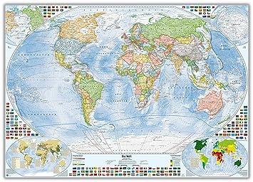 205x144 cm Politische Weltkarte mit 4 Nebenkarten Aktuel... deutsch