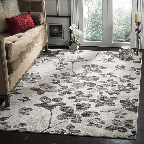 Safavieh Evoke Collection EVK236R Vintage Floral Grey and Black Area Rug 3 x 5