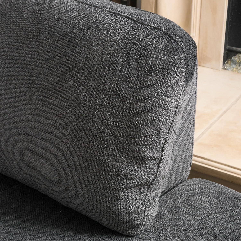 Amazon Gotham 3 piece Charcoal Fabric Sectional Sofa Set