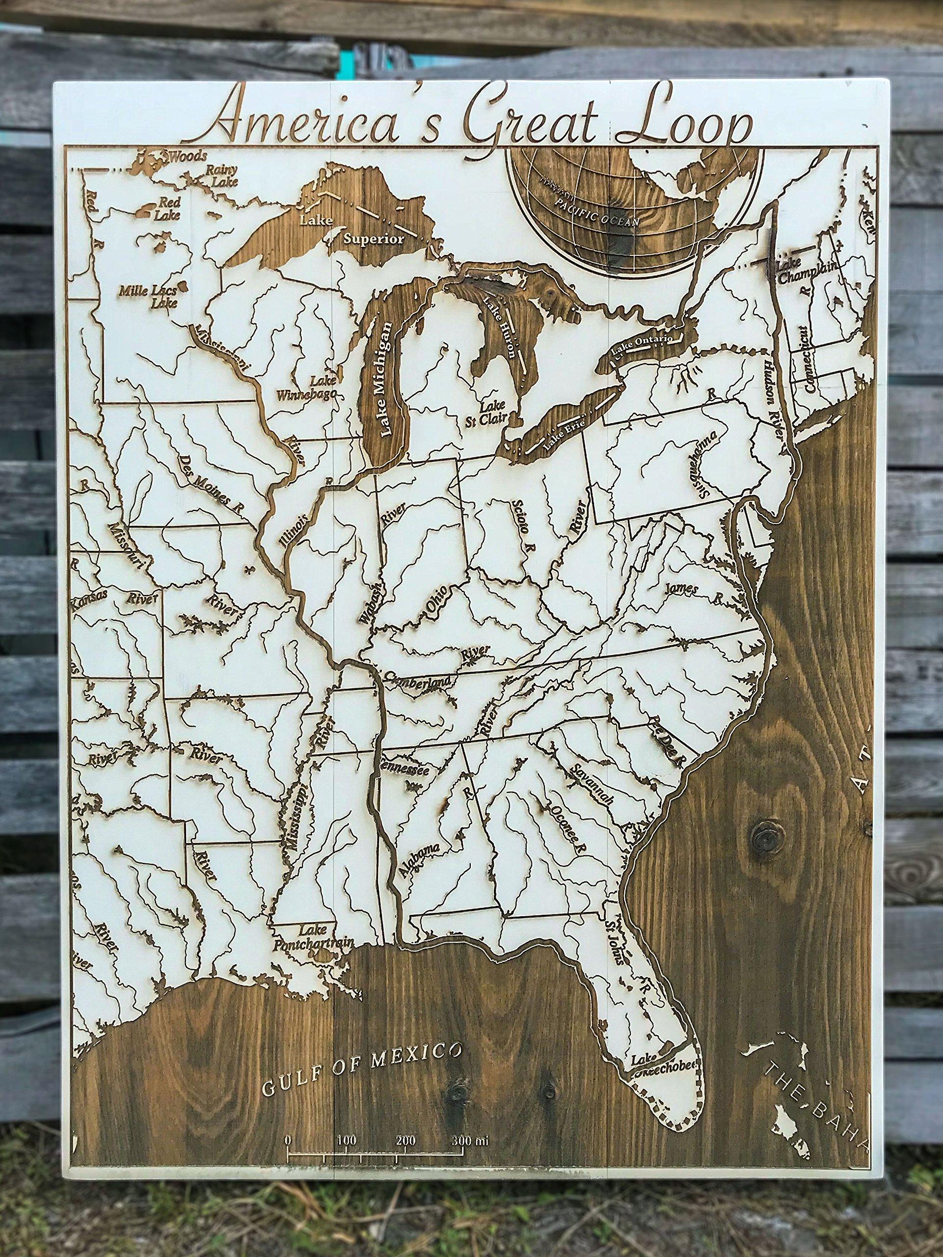 America's Great Loop - wood engraved map