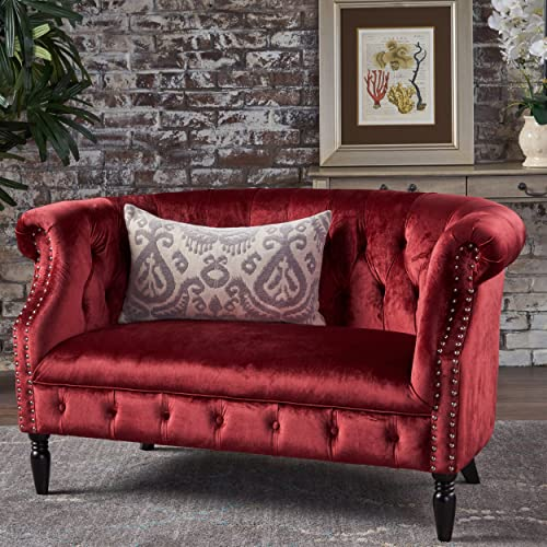 Christopher Knight Home Melaina Garnet Tufted Rolled Arm Velvet Chesterfield Loveseat Couch