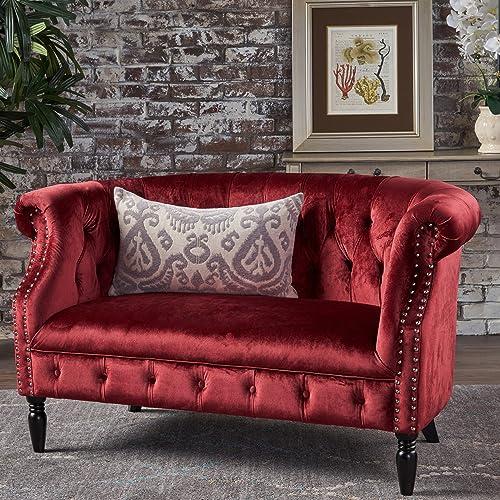 Red Velvet Sofa Amazon Com