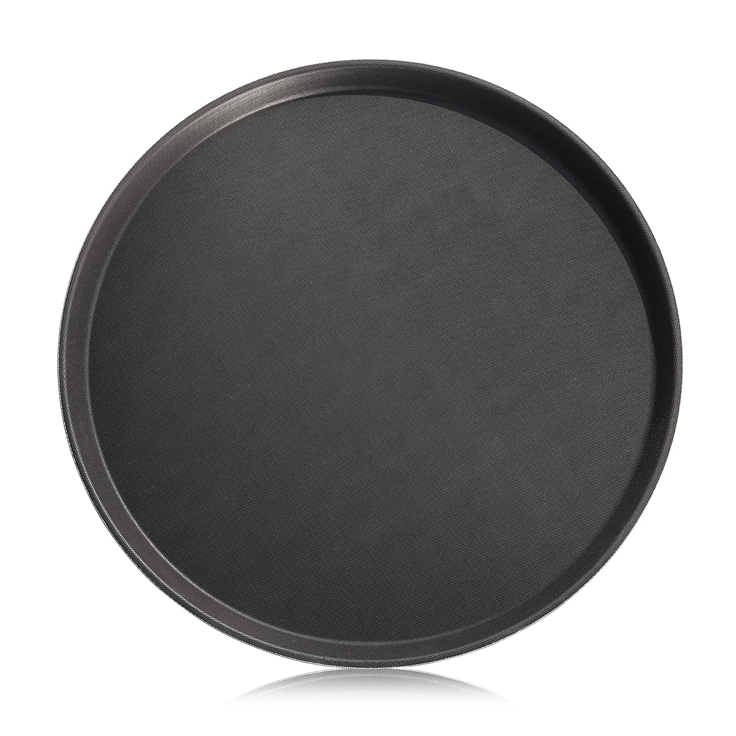 New Star Foodservice 25217 Non-Slip Tray, Plastic, Rubber Lined, Round, 16-Inch Dia, Black