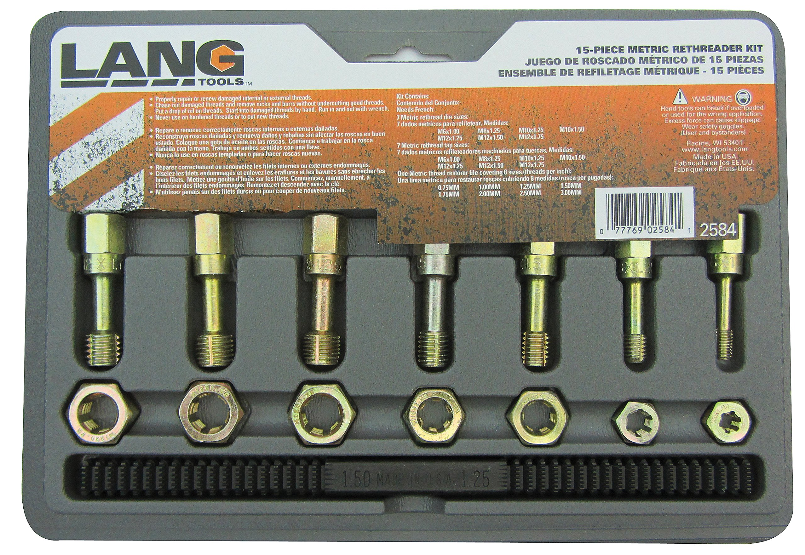 Amazon.com: Lang Tools 2584 15-Piece Metric Thread Restorer Set: Automotive