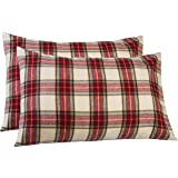 Pinzon 160 Gram Plaid Flannel Cotton Pillowcases, Set of 2, Standard, Cream / Red Plaid