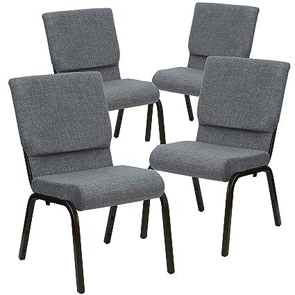 Flash Furniture 4 Pk Hercules Series 18 5 W Stacking Church Chair In Gray Fabric Gold Vein Frame