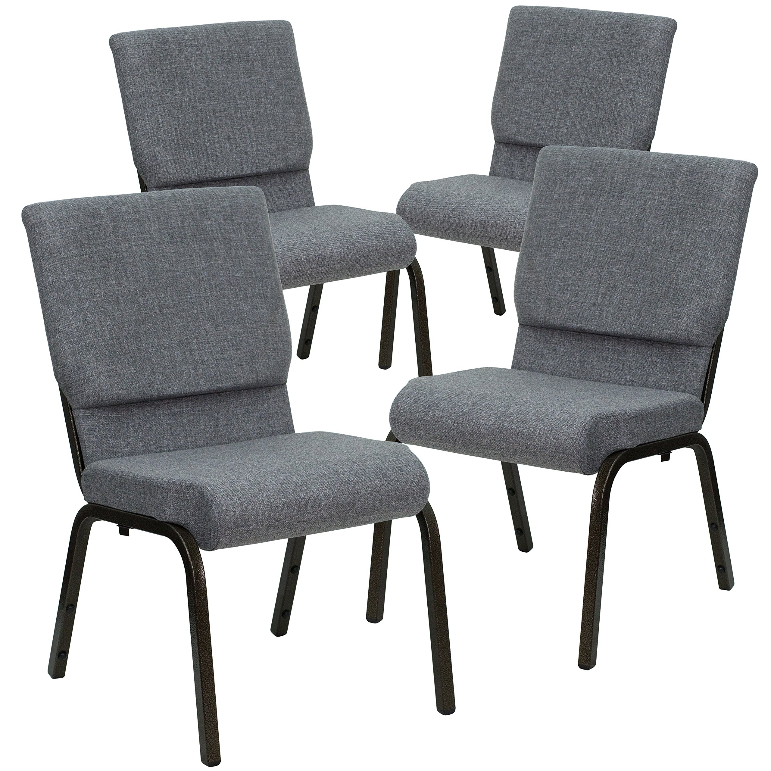 Flash Furniture 4 Pk. HERCULES Series 18.5''W Stacking Church Chair in Gray Fabric - Gold Vein Frame