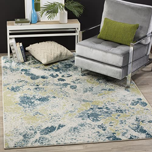 Safavieh Water Color Collection WTC696B Ivory and Light Blue Area Rug, 8 x 10