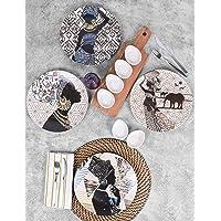 Keramika Afrikalı Kadınlar Kahvaltı Takımı 11 Parça 4 Kişilik