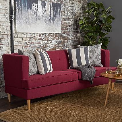 Attrayant Mason Mid Century Modern Fabric Sofa (Deep Red)