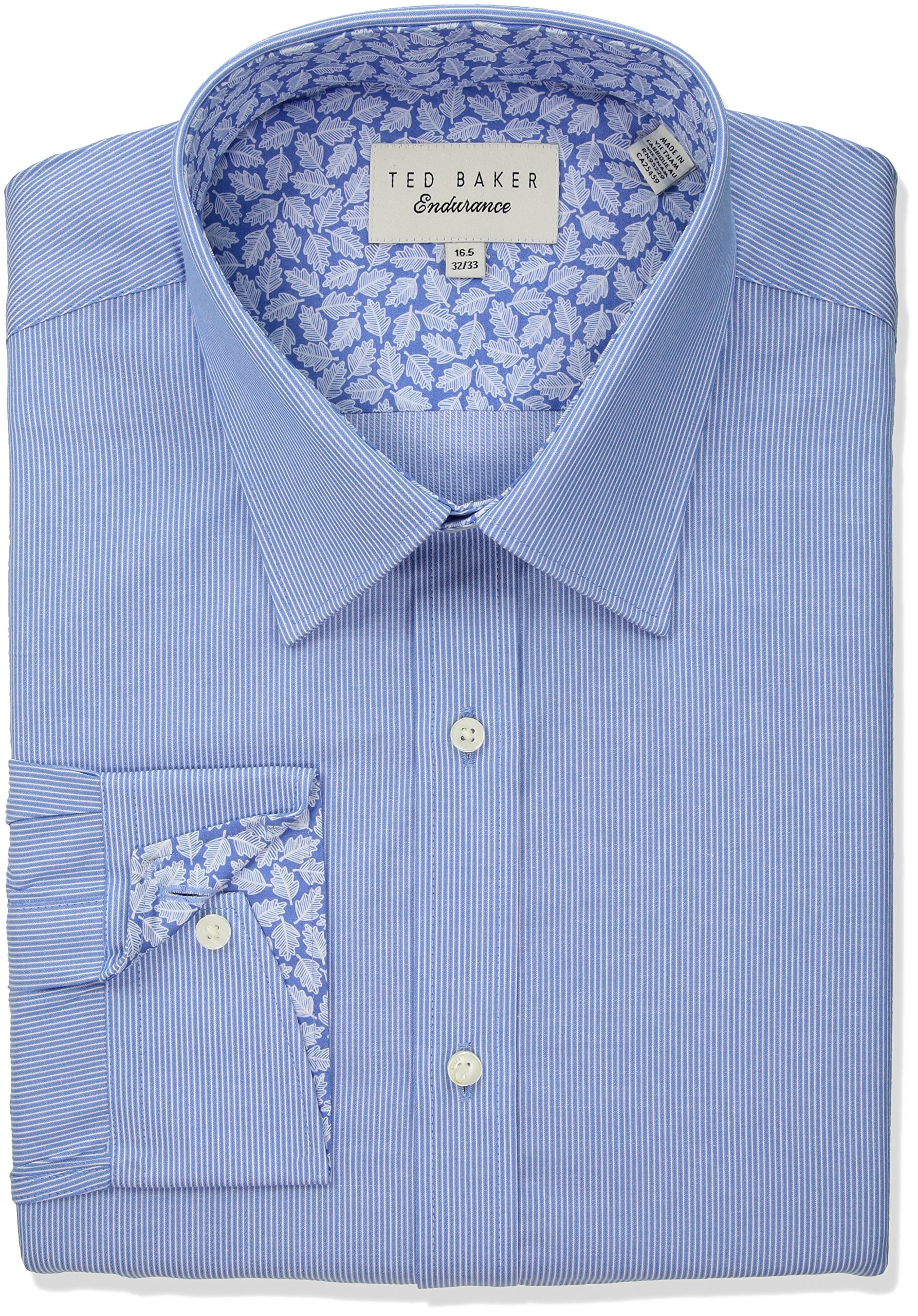 Ted Baker Men's Strem Slim Fit Dress Shirt, Blue, 15.5'' Neck 34''-35'' Sleeve
