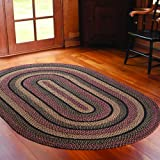 IHF HOME DECOR Primitive Country Style Oval Area Floor Carpet 5 Feet x 8 Feet Braided Area Rug BLACKBERRY Design Jute Fabric