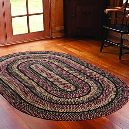 IHF HOME DECOR New Braided Area Rug Country Style Oval Floor Carpet 5u0027 X 8