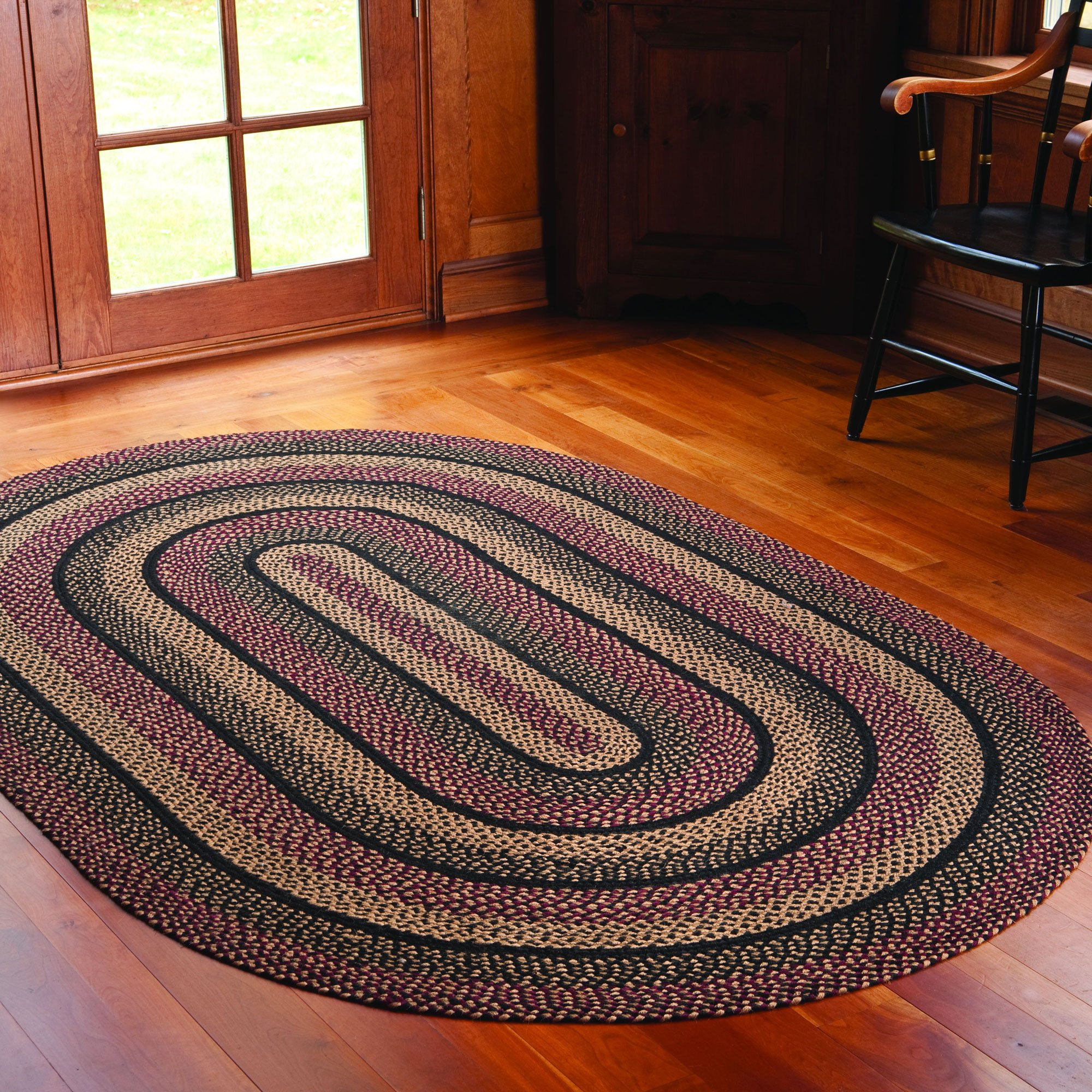 IHF Home Decor Braided Area Rug 3 x 5 Feet Oval Floor Carpet Blackberry Design Jute Fabric