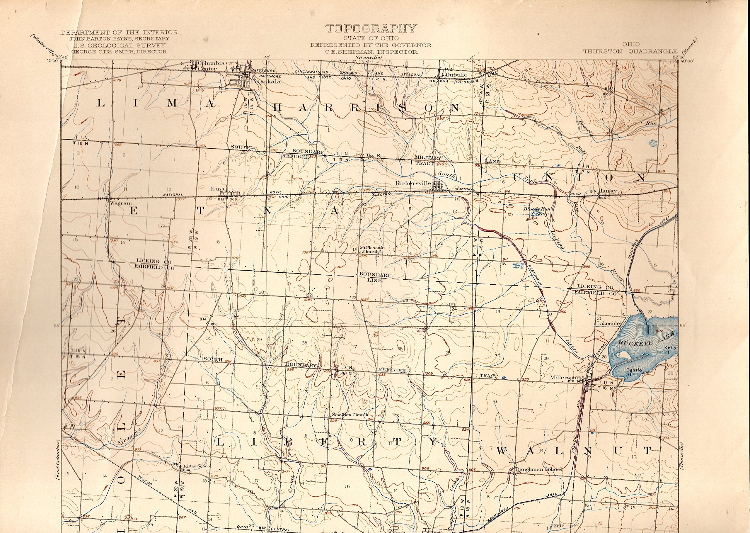Map Ohio Thurston Quadrangle From Topographical Maps Of The