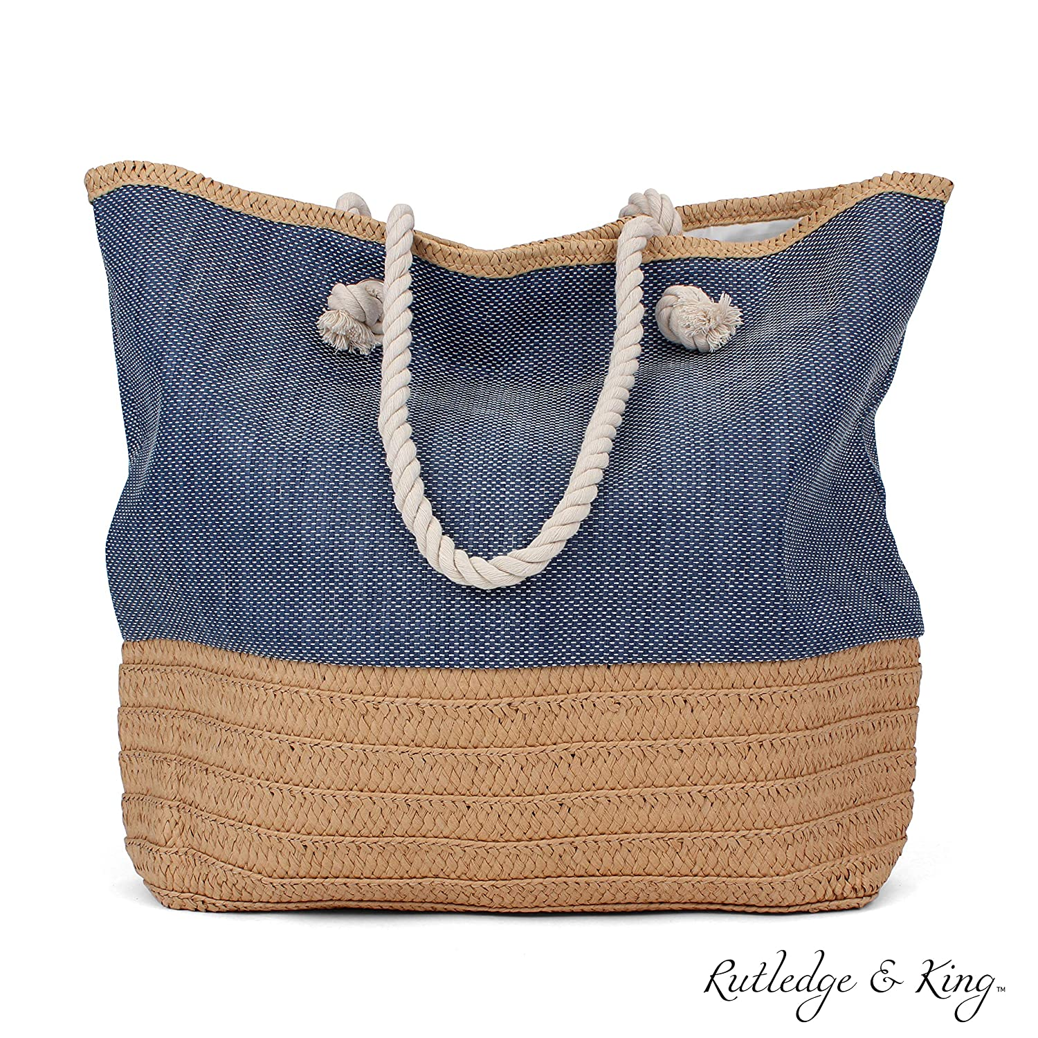 250cb2843 Amazon.com: Tote Bag - Beach Bag - Beach Tote - Large Tote Bag with Rope  Handles - Rutledge & King™ Waverly Designer Tote Bag - Straw Tote: Shoes
