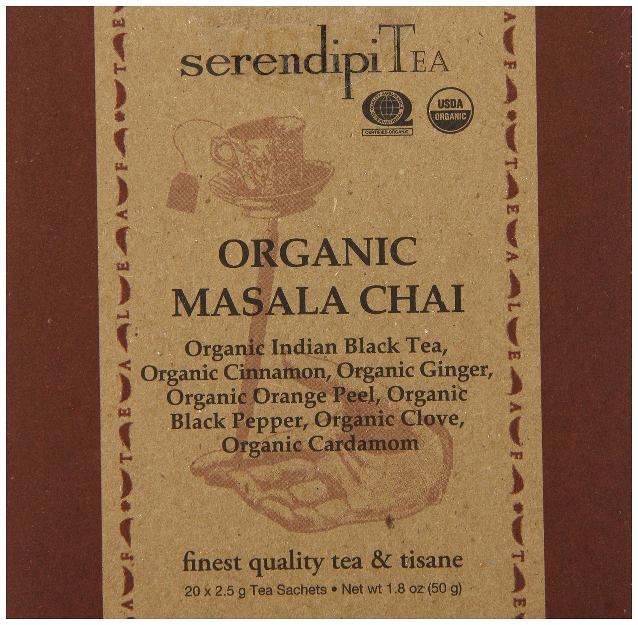 SerendipiTea Organic Tea Masala Chai, 20 Count (Pack of 8)