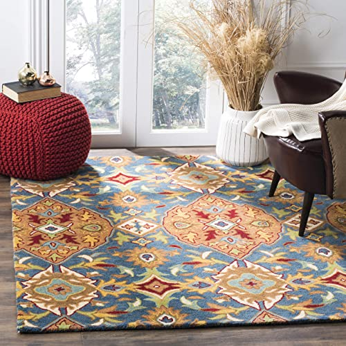 Safavieh Heritage Collection HG653A Handcrafted Traditional Camel and Blue Premium Wool Square Area Rug 6 Square