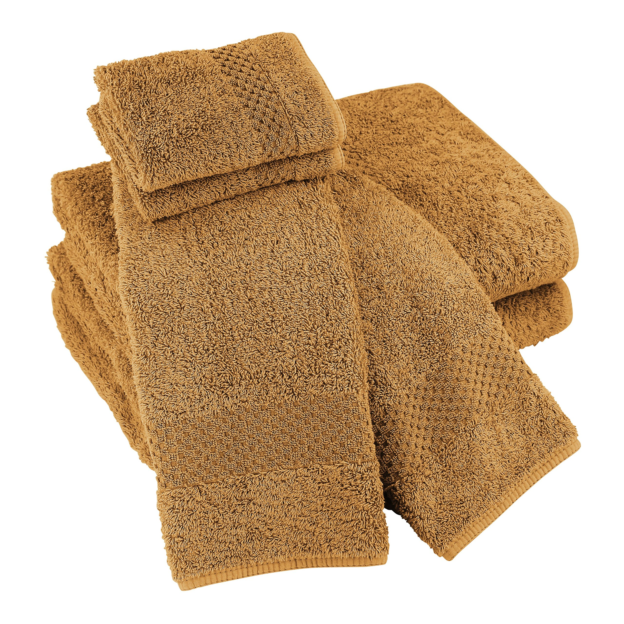 Luxor Linens Sylvano Hotel 100% Giza Combed Egyptian Cotton 700 GSM Luxury Solid 6-Piece Spa Towel Sets - Durable, Plush & Absorbent - Made in Portugal - 15 Colors Available - Golden