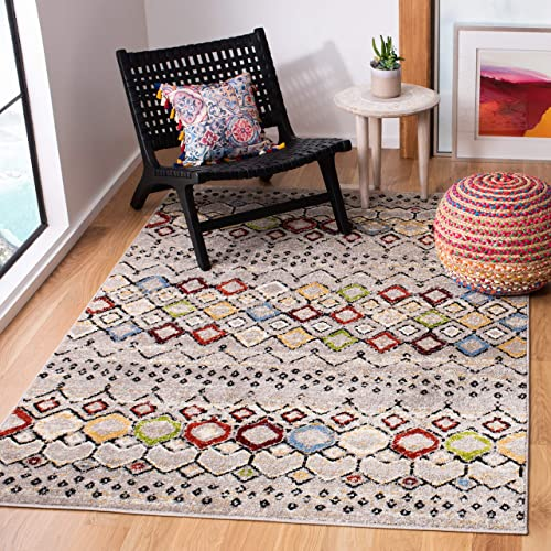 Safavieh Amsterdam Collection AMS108G Southwestern Bohemian Light Grey and Multi Area Rug 3 x 5