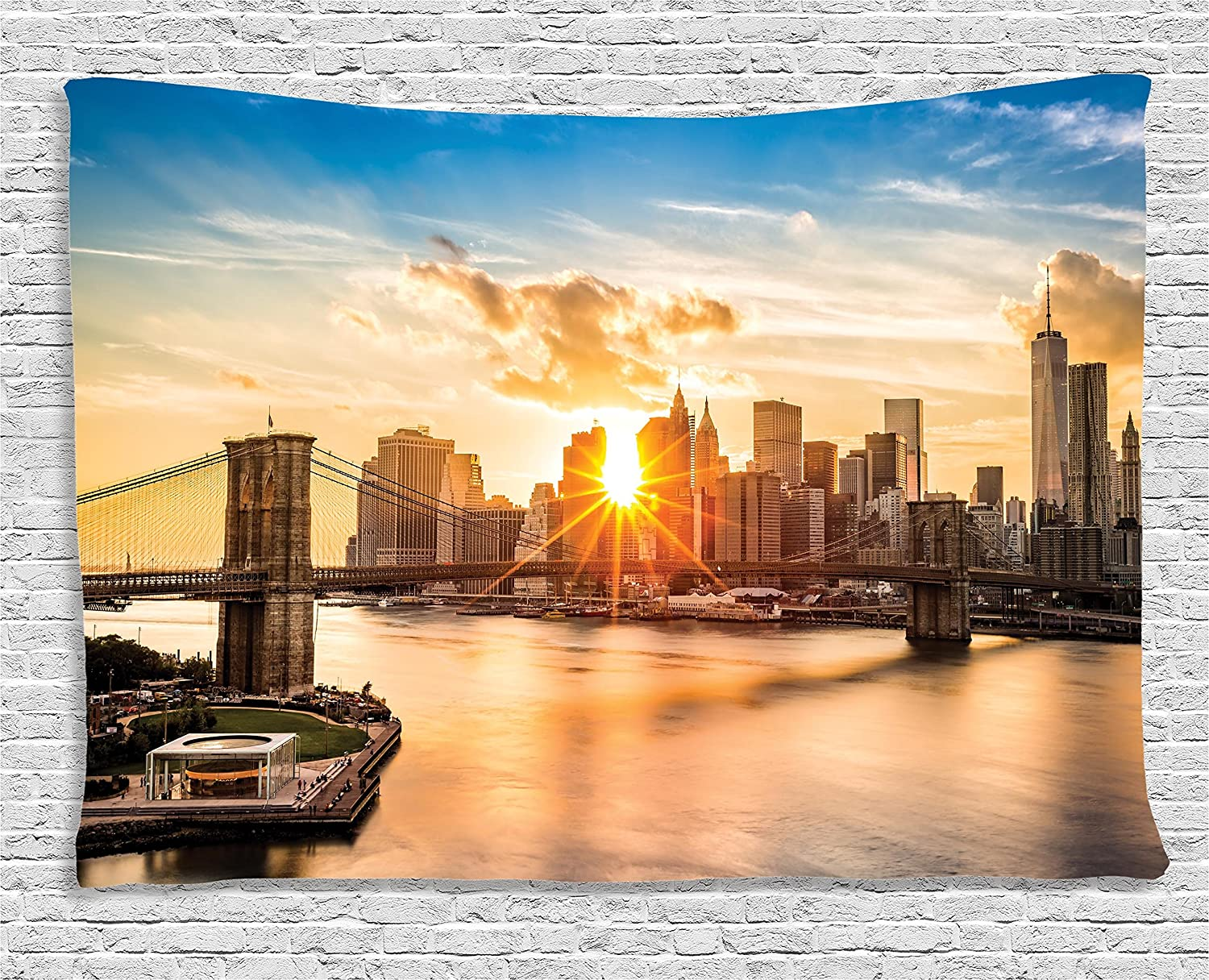 Amazon.com: Sunset Tapestry Art Decor by Ambesonne, New York ...