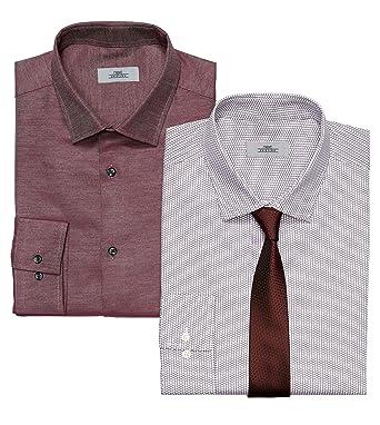 next Hombre Conjunto De 2 Camisas Limpia Y Estampada Y Corbata De ...