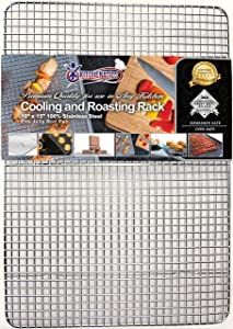 "KITCHENATICS Commercial Grade Stainless Steel Cooling and Roasting Rack Heavy Duty Thick-Wire Grid Fits Jelly Roll Pan Oven-Safe Rust-Resistant for Cooking, Roasting, Grilling, Drying (10"" x 15"")"