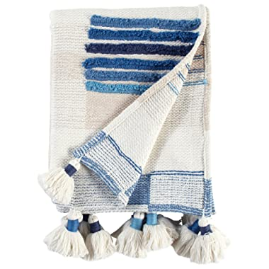 Rivet Global Textured Throw Blanket With Large Tassels