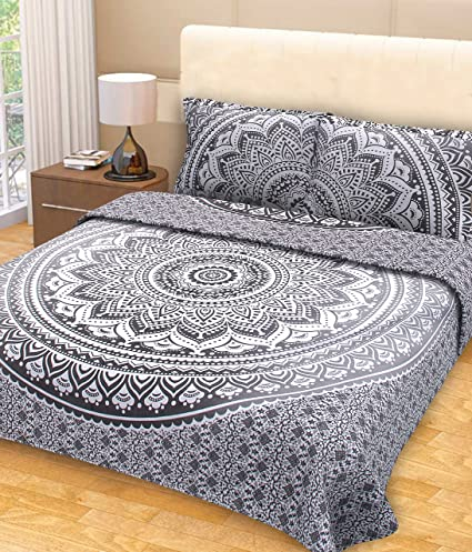 Amazon.com: Grey Ombre Mandala Tapestry Bedding with Pillow Covers ...