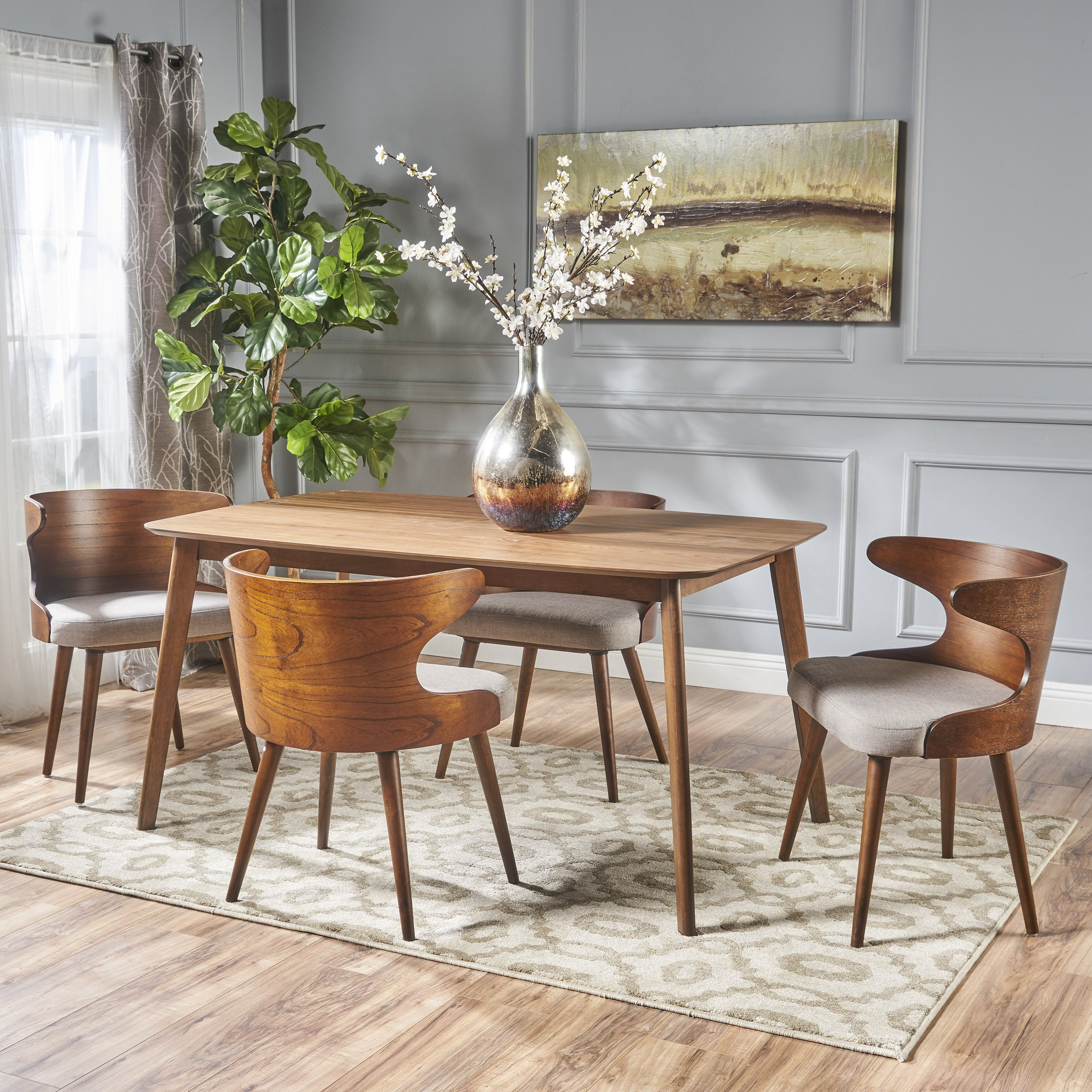 Brianne Mid Century Natural Walnut Finished 5 Piece Wood Dining Set with Dark Beige Fabric Chairs